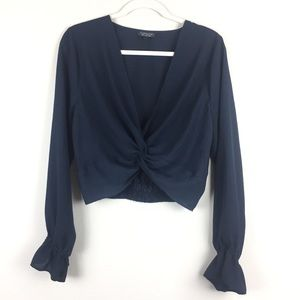 Topshop Navy Blue Crop Top